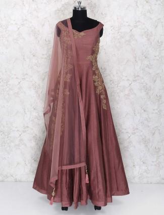 Party wear brown hued raw silk anarkali