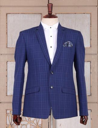 Party wear checks blue blazer