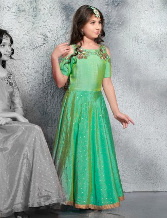 Party wear classy green gown