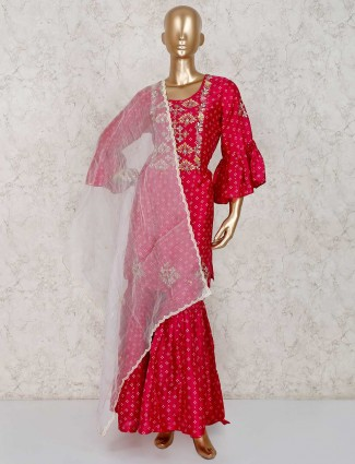 Party wear cotton silk maganta color sharara suit