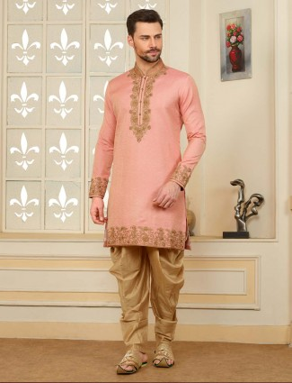 Party wear cotton silk pink hued kurta suit