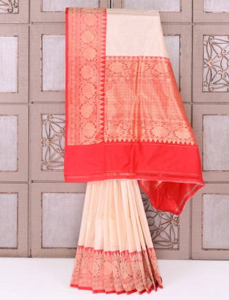 Party wear cream and red color saree