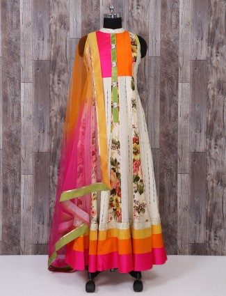 Party wear cream linen fabric anarkali suit