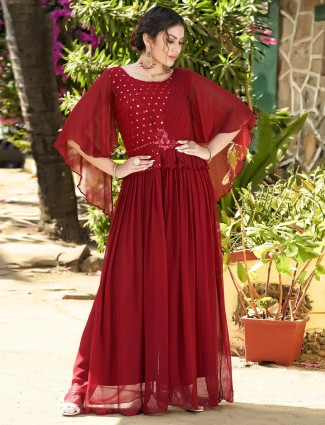 Party wear exclusive red georgette suit