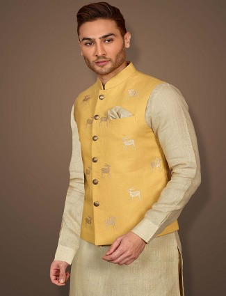 Party wear gold and beige hue terry rayon waistcoat set