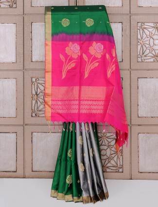 Party wear green and grey color silk saree
