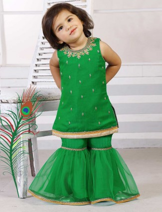 Party wear green color sharara suit
