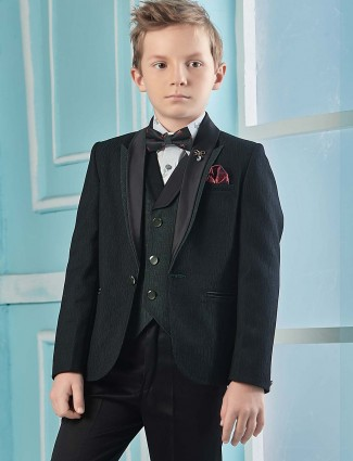 Party wear green color tuxedo suit for boys
