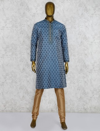 Party wear green hue silk kurta suit