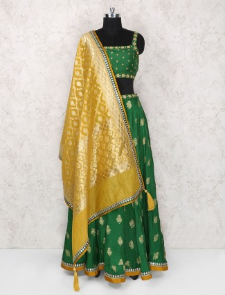 Party wear green raw silk lehenga choli