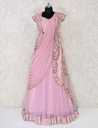 Party wear jacket style pink gown