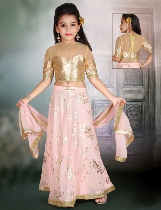 Party wear lehenga choli in peach silk fabric