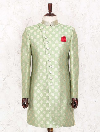 Party wear light green color indo western