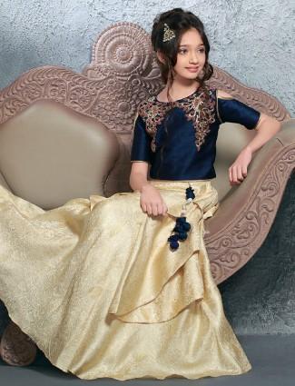 Party wear navy beige silk lehenga choli