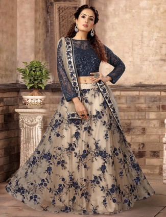 Party wear navy blue lehenga choli