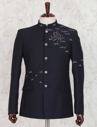 Party wear navy hue jodhpuri suit