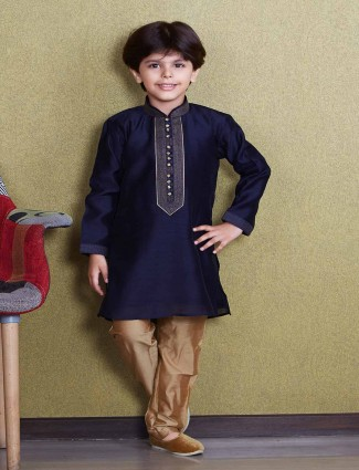 Party wear navy hue kurta suit