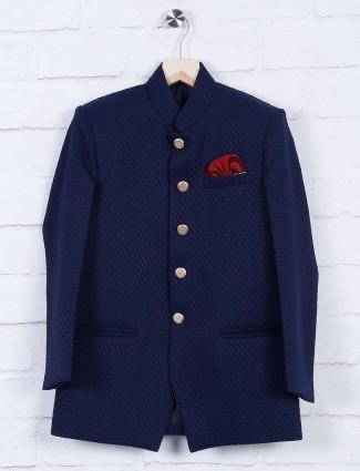 Party wear navy hued terry rayon jodhpuri suit