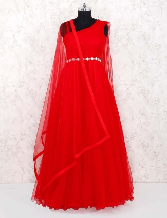 Party wear net gown in red color