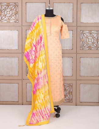Party wear Peach color silk palazzo suit