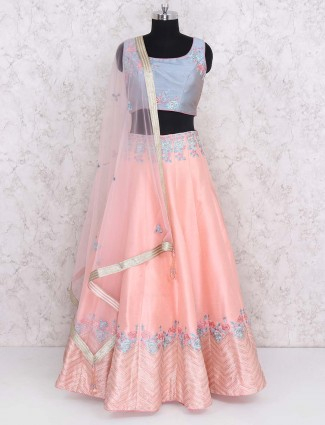 Party wear peach hued silk lehenga choli