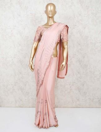 Party wear peach satin saree