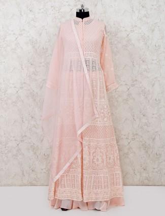 Party wear pink geogette designer lehenga suit