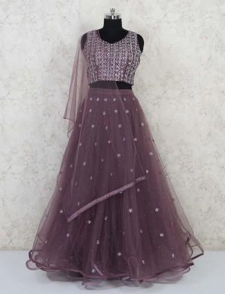 Party wear purple net lehenga choli
