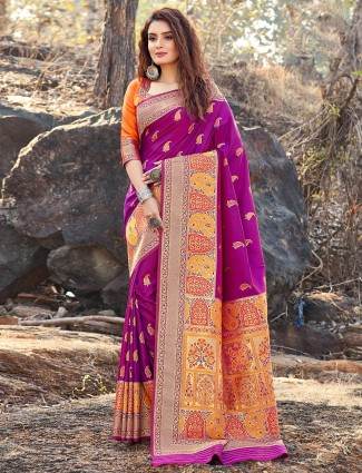 Party wear purple soft silk saree