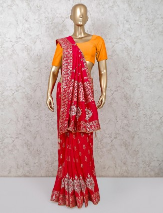 Party wear rani colour dola silk saree