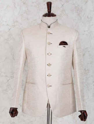 Party wear raw silk cream hued jodhpuri blazer