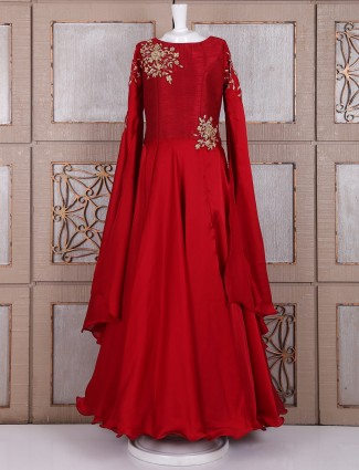 Party wear red claasy gown
