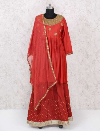 Party wear red color lehenga choli
