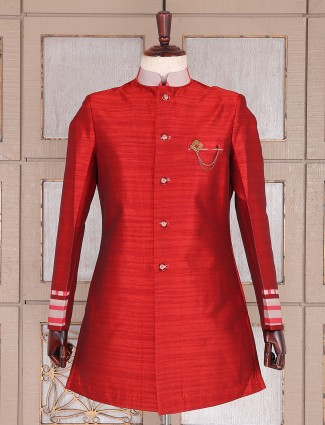Party wear red raw silk semi indo western