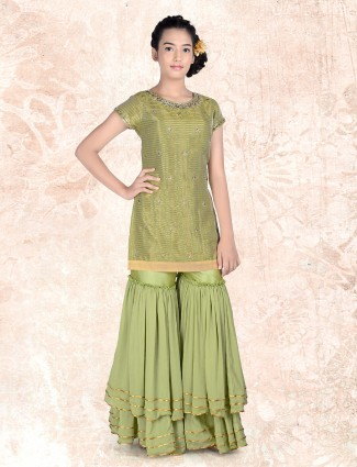 Party wear round neck sharara suit