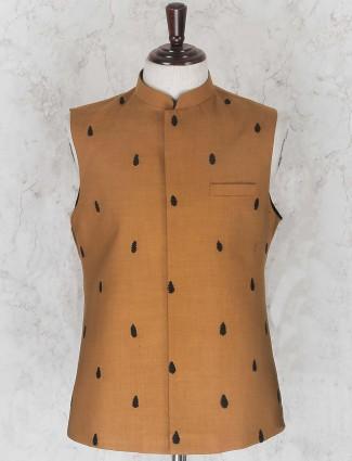 Party wear rust orange hued waistcoat