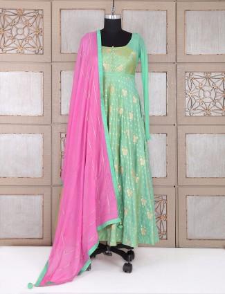 Party wear sea green anarkali suit in silk fabric