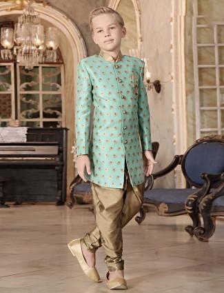 Party wear sea green simple indo western