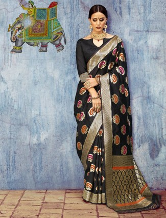 Party wear silk black designer saree