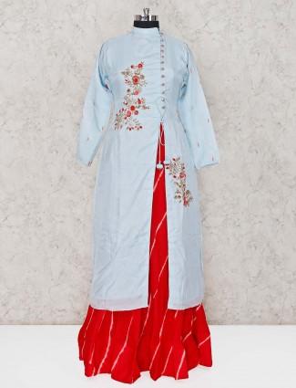 Party wear sky blue cotton silk lehenga suit