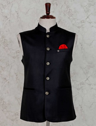 Party wear solid black waistcoat