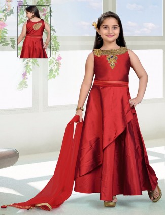 Party wear stylish salwar suit in red color
