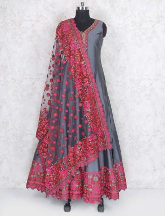 Party wear taffeta silk fabric gery hue anarkali suit