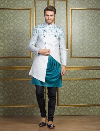 Party wear white silk indo western