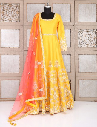 Party wear yellow one piece salwar suit