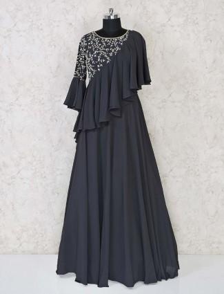 Partywear anarkali suit in the grey color