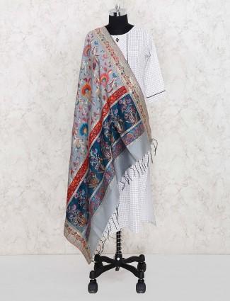 Pashmina silk pretty dupatta in grey color