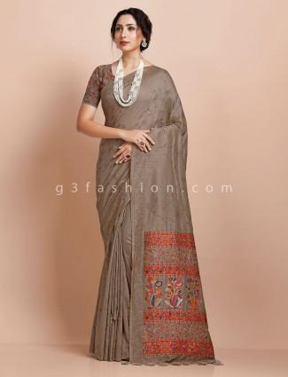 Pashmina silk wedding days saree in grey