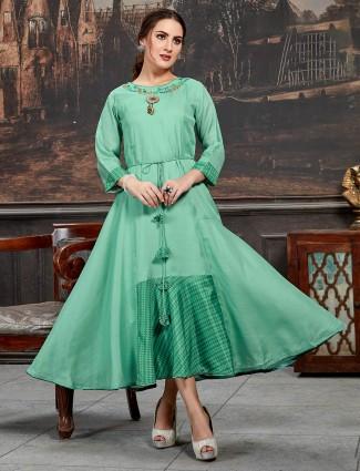 Pastel green cotton silk solid long kurti