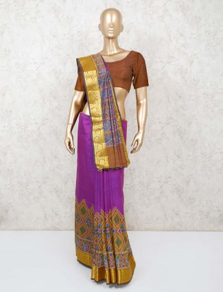 Patola printed cotton saree in purple and yellow